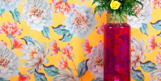 Tela loneta estampada de Flores asiáticas para decoración hogar