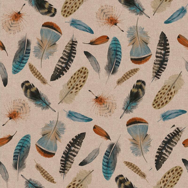 tela estampado plumas en tejido culla 100% algodón