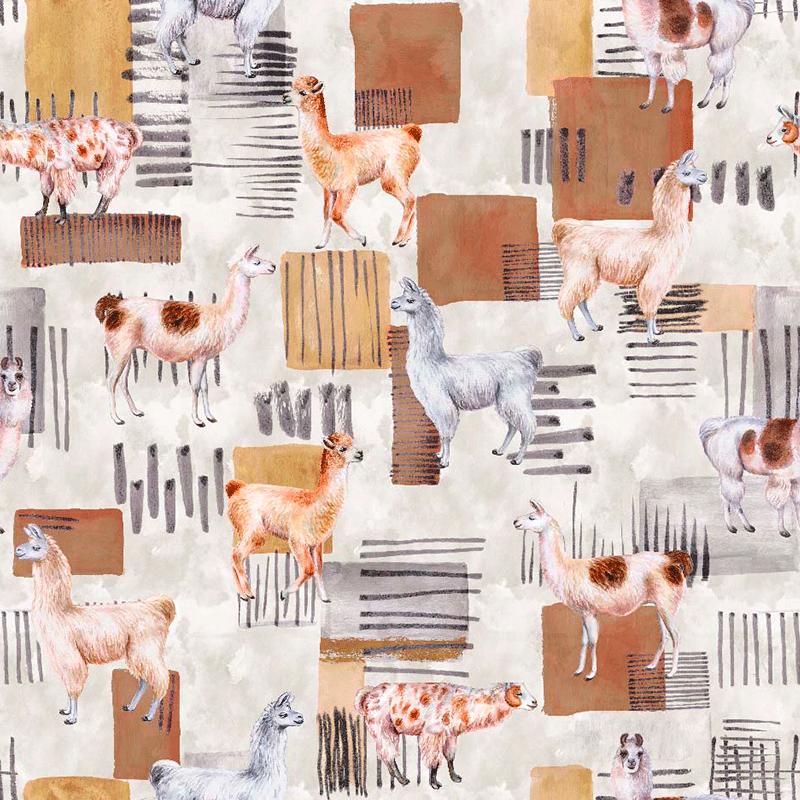 loneta estampada de llamas, yamas para decoración hogar con animales impresos