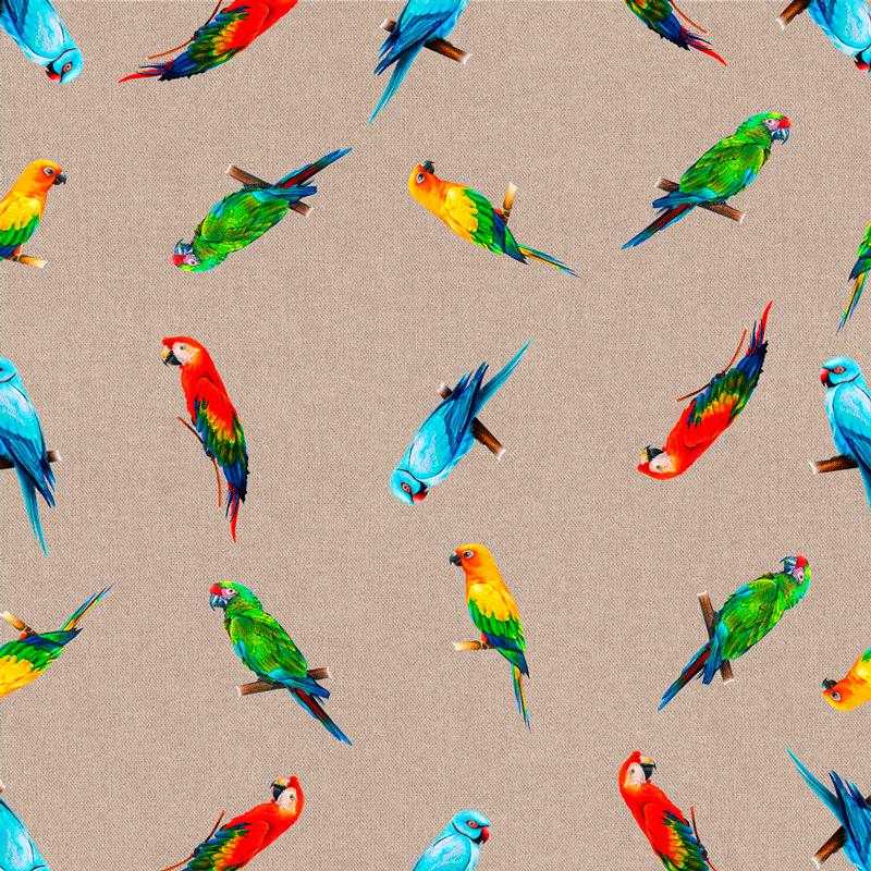 telas estampadas de loros, pájaros tropicales en tejido culla de algodón
