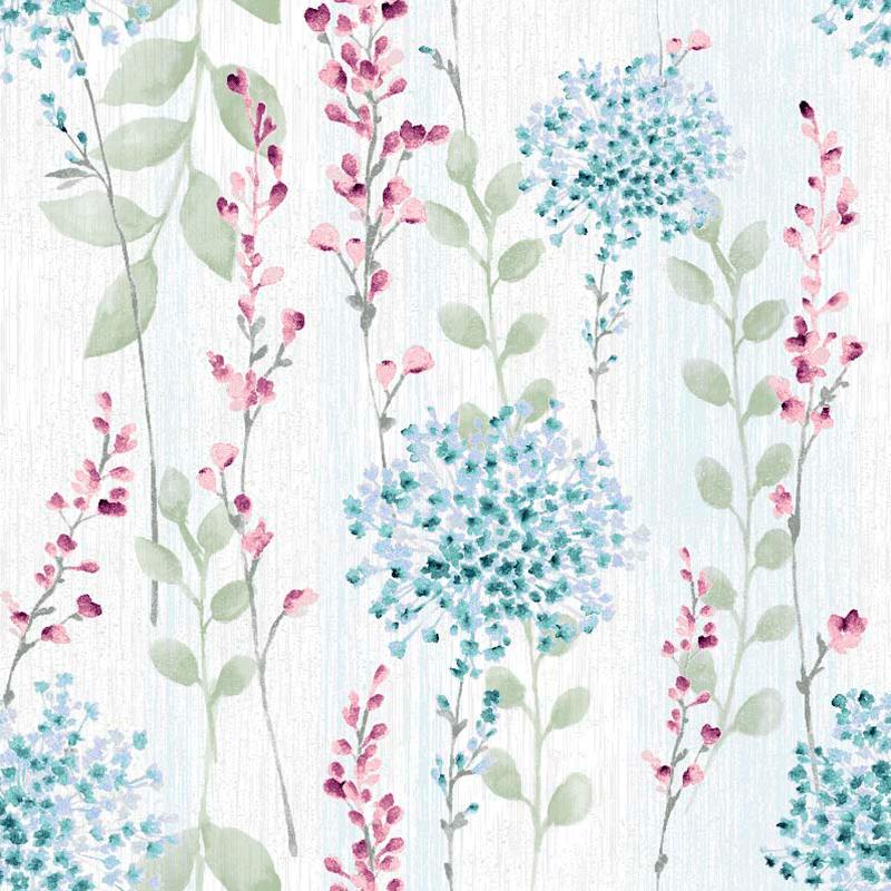 loneta estampada de flores bucólicas para decoración