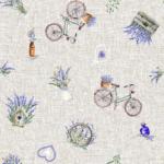 Tela estampada con lavandas bicletas un paisaje provenzal
