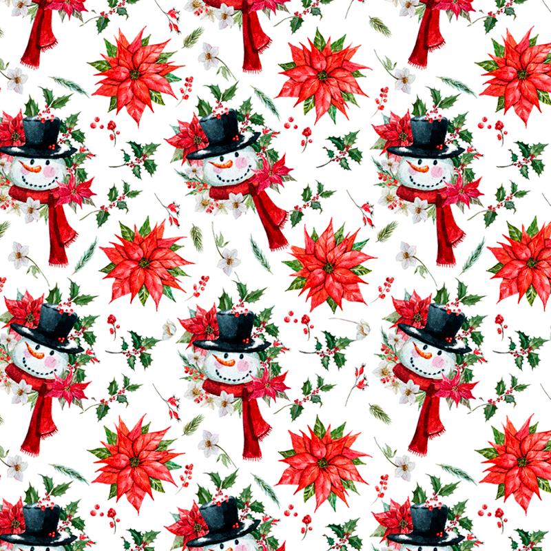 tela decorativa navidad, muñeco de nieve, flores navideñas