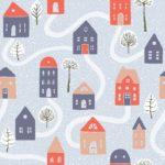 lonetas estampadas de casas casitas en telas para decoración hogar