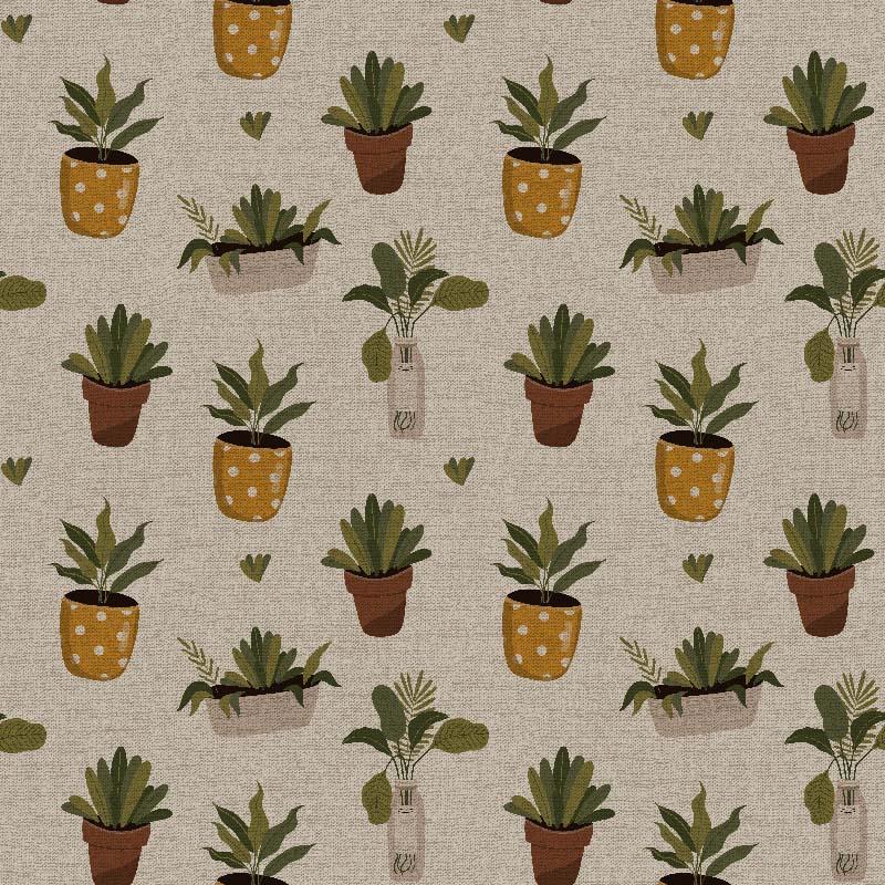 telas de plantas estampadas para decoración telas botánicas de algodón