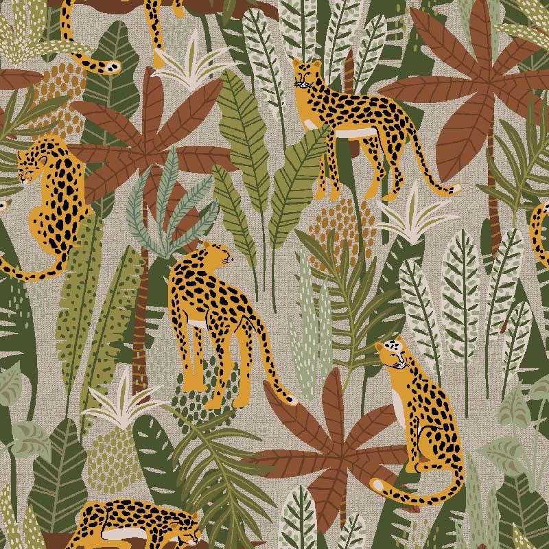 Telas de algodón, perfecta para decoración hogar, guepardos estampados