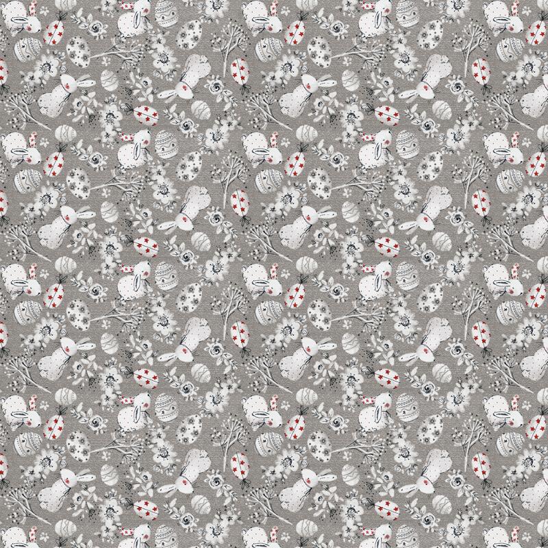 loneta de animales pascua conejos fondo gris