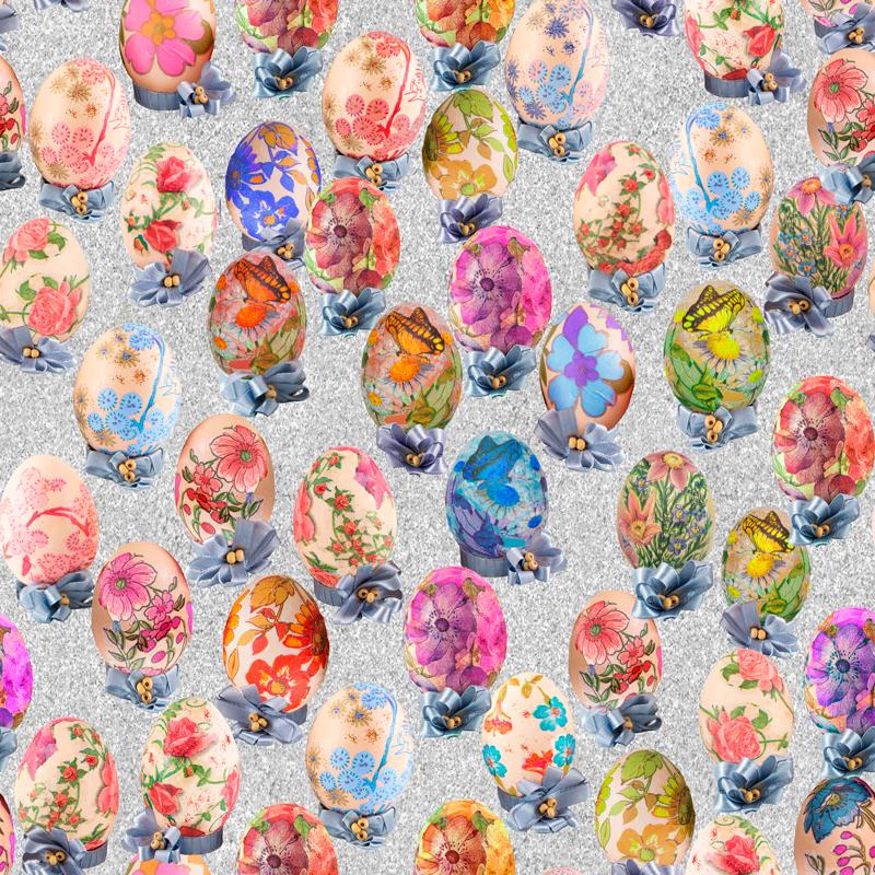 loneta flores pascua conejos huevos