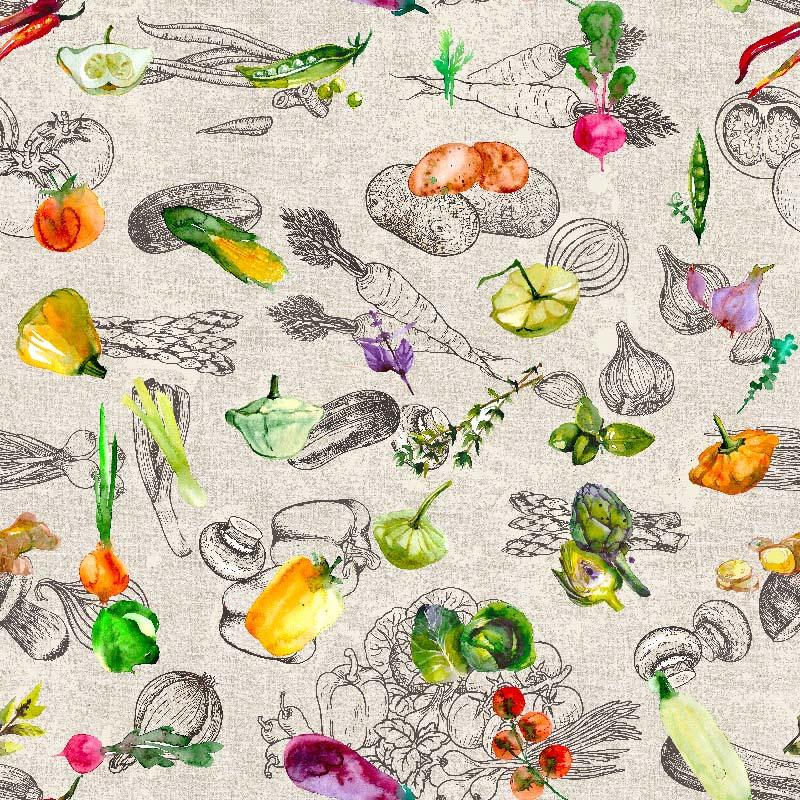 telas con verduras estampadas para decoración Loneta