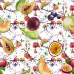 telas estampadas de frutas tropicales loneta venta por metros