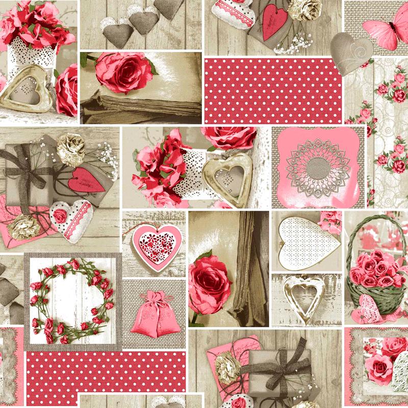 loneta vintage rosa corazones flores