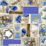 loneta flores azul venta por metros