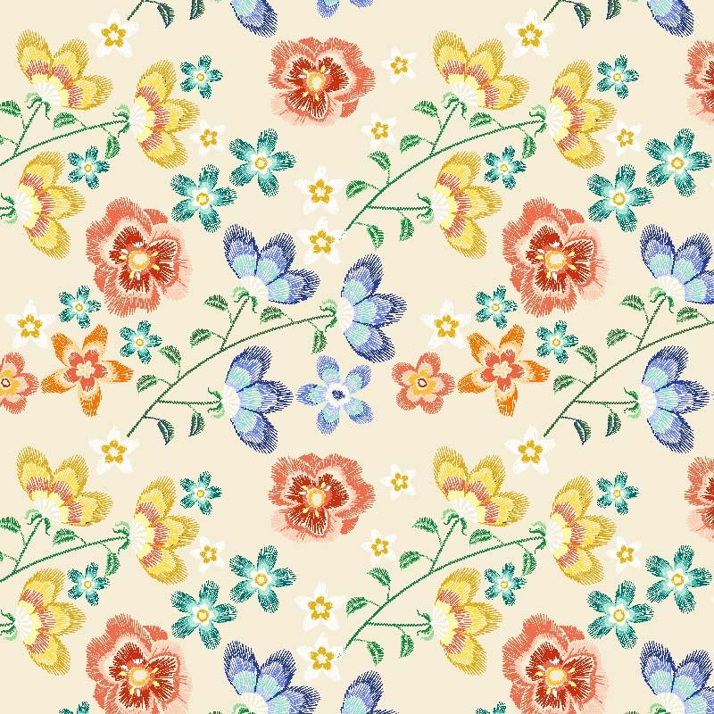 loneta flores tipo folk