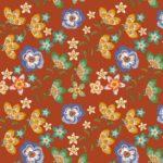 loneta de flores naranja folk
