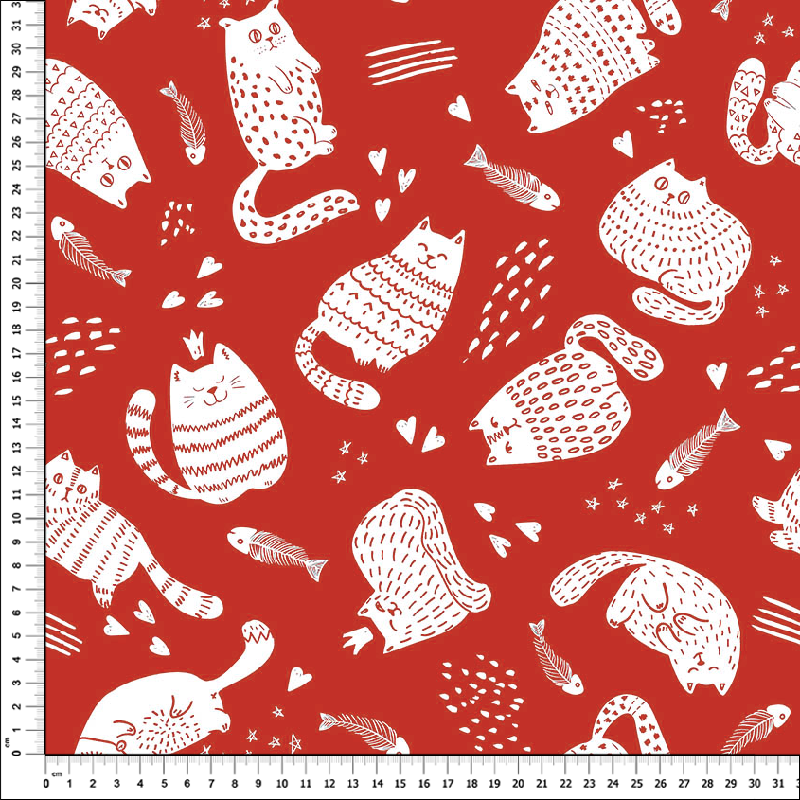 loneta estampada gatos animales fondo rojo