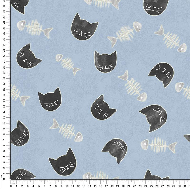 loneta estampada gatos fondo azul