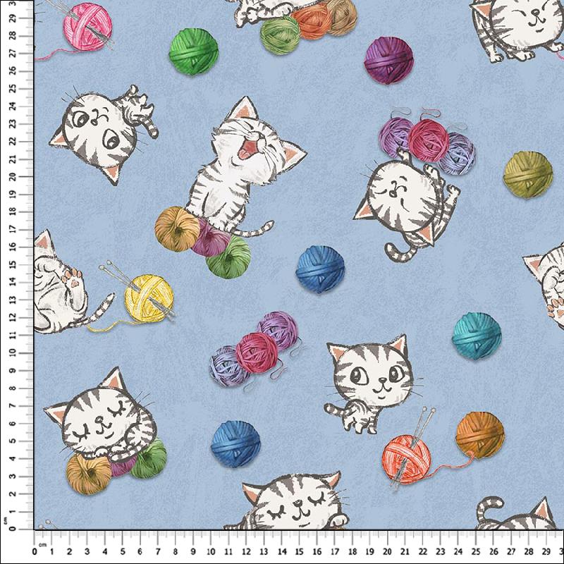 loneta gatos estampado
