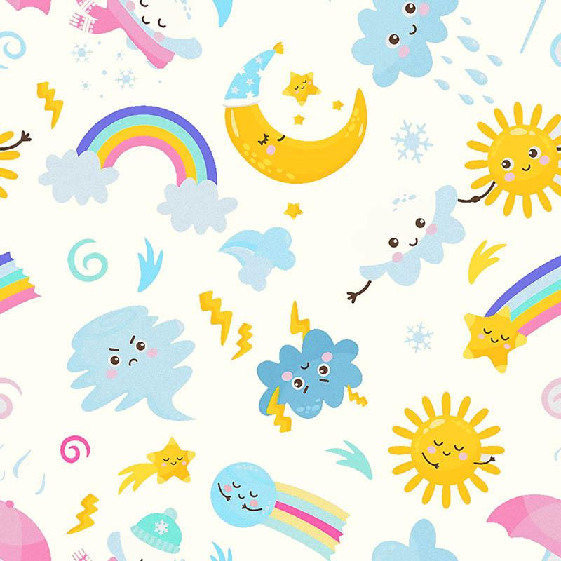 loneta infantil arcoíris luna estrellas soles