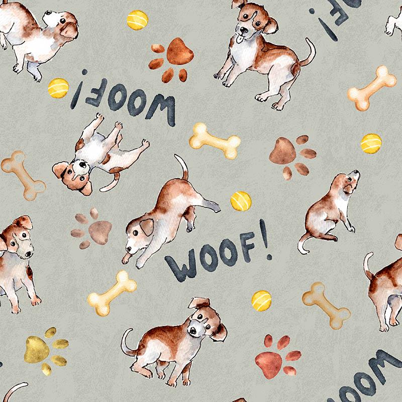 loneta de perros y huellas estampados