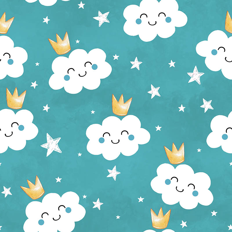 loneta nubes estrellas infantil