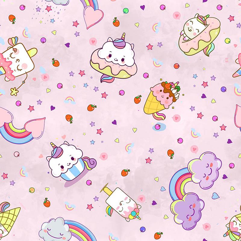 loneta infantil cupcakes arcoíris