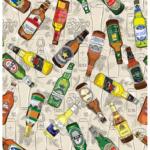 loneta estampada botellas