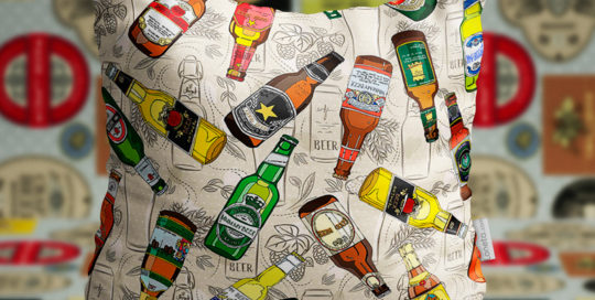 loneta estampado cerveza, bar , vasos