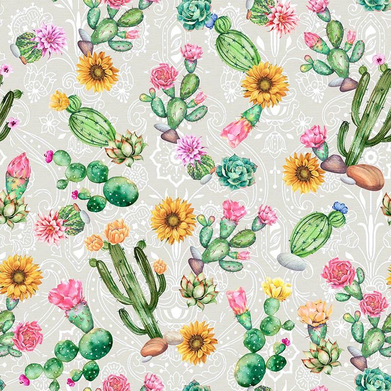 loneta con cactus estampados venta por metros