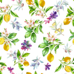 loneta estampado frutas limones
