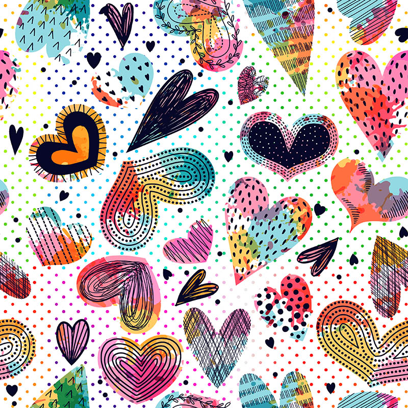 loneta corazones de colores estilo mexico