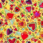 loneta estampado corazones mexicano fondo amarillo