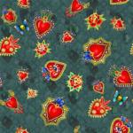 loneta diseño mexicano corazones ojos