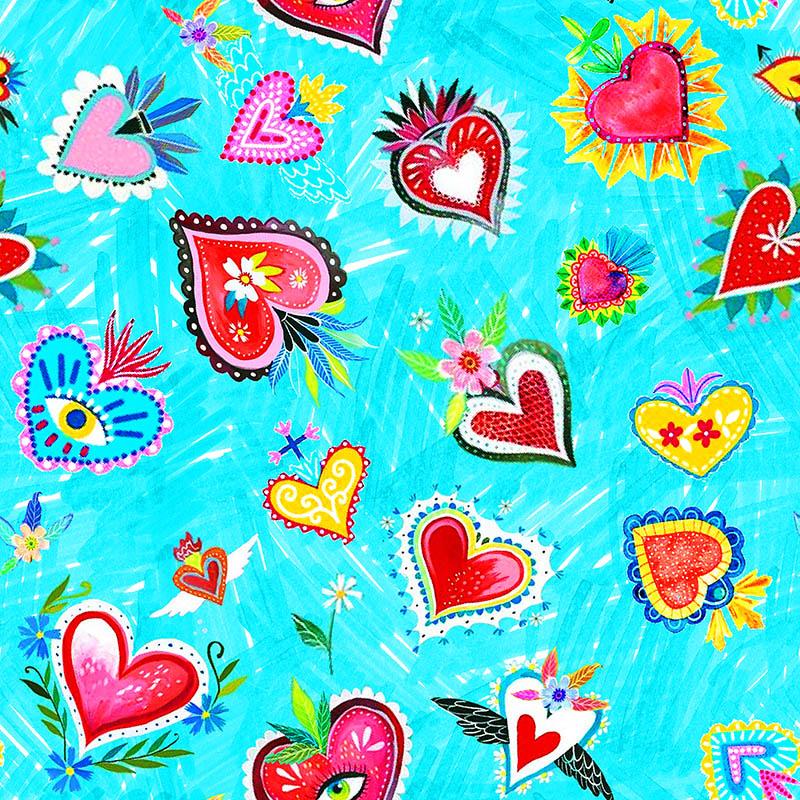 loneta corazones mexicanos