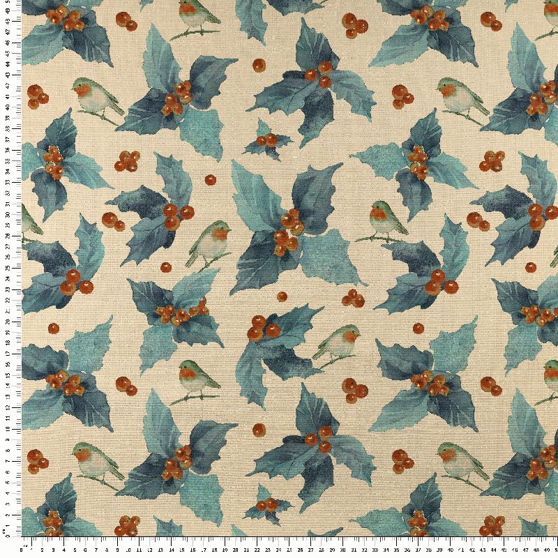 tela hojas de acebo navidad brillo lurex