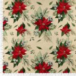 loneta navidad pinsettias con Lurex