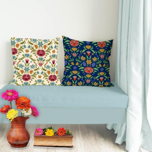 loneta estampado flores bordadas