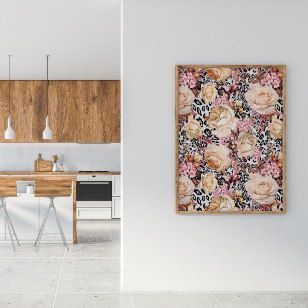 loneta de flores animal print