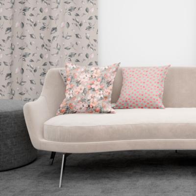 tela de flores círculos Loneta textil hogar